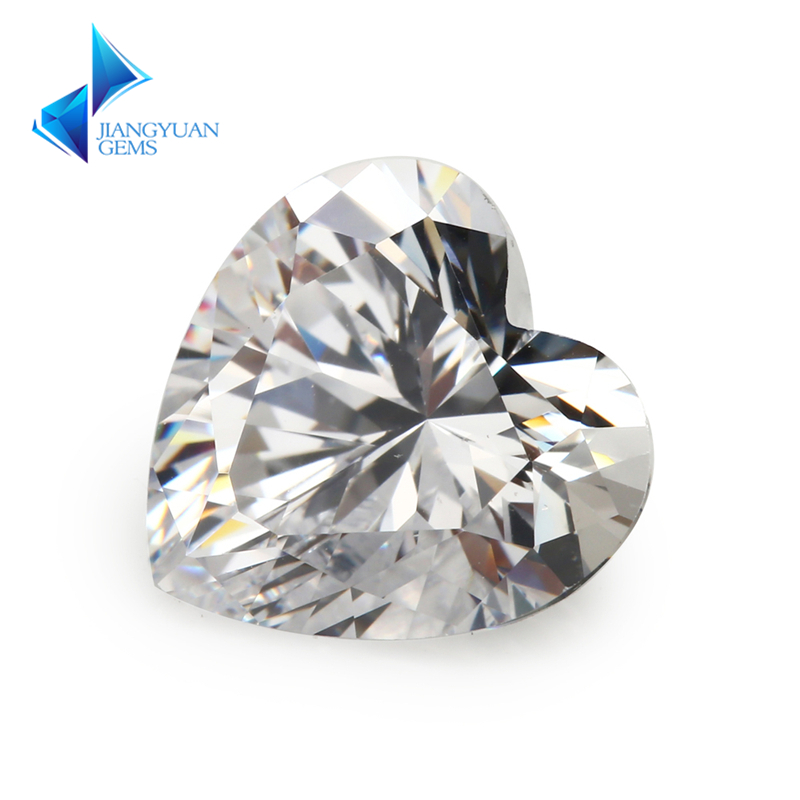 Size 3x3-12x12mm Heart Shape 5A White Cubic Zirconia Stone Synthetic Gems CZ For Jewelry