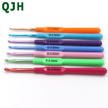 QJH Brand 7pcs/Set color plastic handle Aluminum Hook Crochet Hooks Knit Knitting Weave DIY Craft Needles Loom Tool 2.0-5.0mm