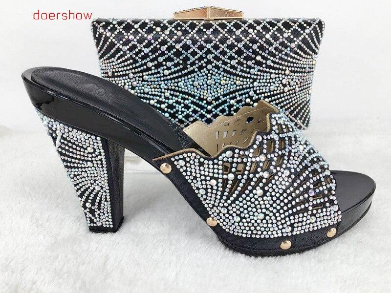 Haute Femme La Qualité 26 Ouvert Hlu1 Soirée Pour Africaine Italiennes Doershow Ensemble Et Bout Chaussures Sac À Pantoufle rrHz0
