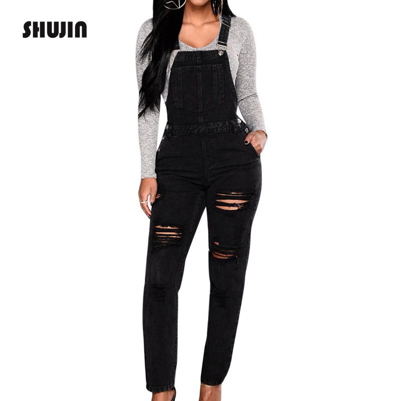 SHUJIN 2018 Fashion Women   Jumpsuit   Black Denim Overalls 2018 Spring Strap Hole Ripped Long Jeans Bodysuit Plus Size   Jumpsuit
