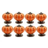 CNIM Hot 12Pcs Pumpkin Zinc Ceramic Door Knobs Drawer Pull Handle Kitchen Cabinet Cupboard Wardrobe Orange