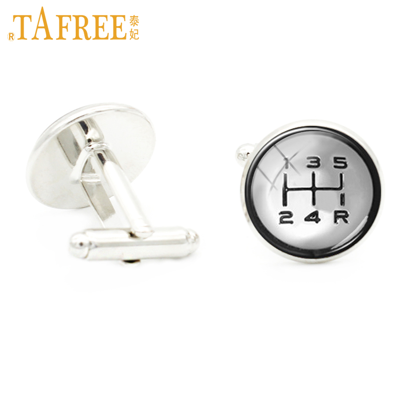 TAFREE Car Joystick Cufflinks control lever Cuff Link first second third four gear five speed Neutral gear picture jewelry KC401