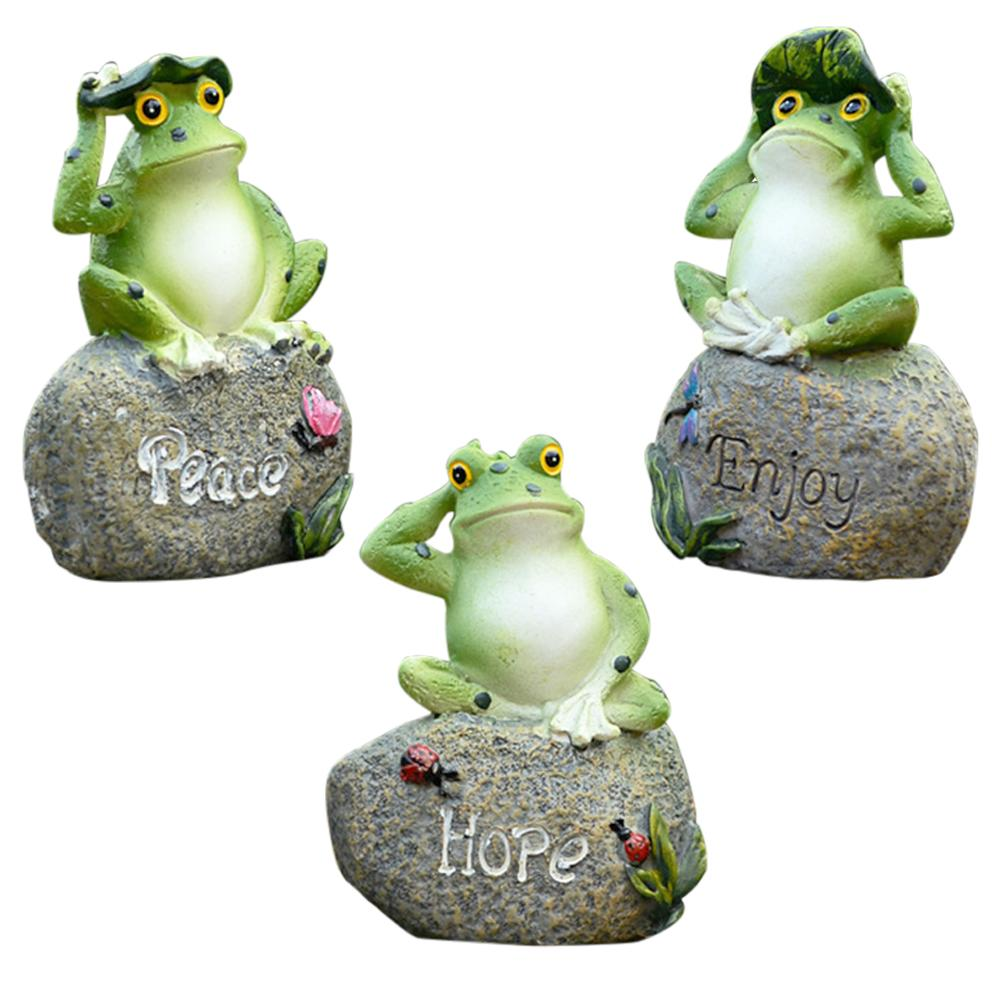 3PCS Frog Shaped Garden Decoration Statue Outdoor Terrace Ornament Garden Art Decor Home Ornament Outdoor Yard Animal Figurine