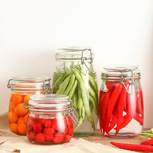 1pcs Creative Transparent Sealed Can Kitchen Condiment Glass Jar Cereals Tea Food Honey Storage Bottle Container