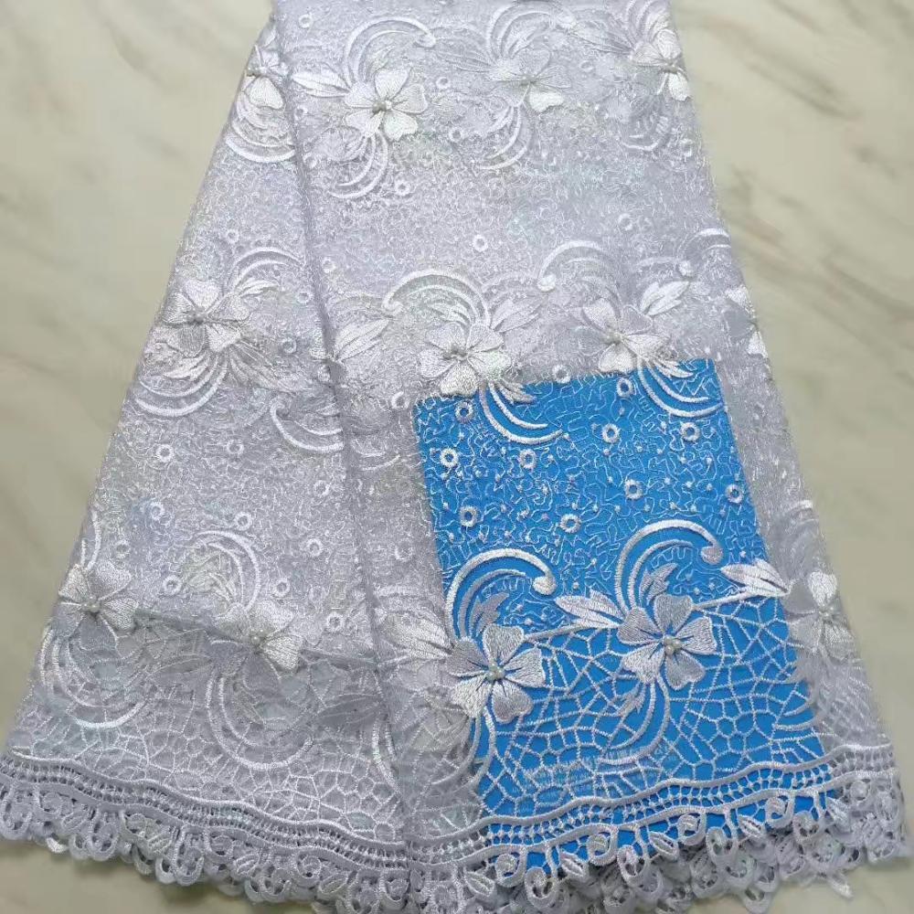 Dernière dentelle de Tulle brodé blanc africain 2019 haute qualité Voile dentelle bordure de tissu couture femmes bricolage robe partie lacets nigérians