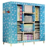 Wooden Triple Multiple Canvas Clothes Bedroom Storage Wardrobe Shelves Blue
