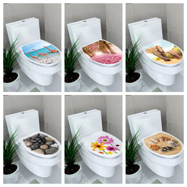 PVC Creative 3d stickers on the toilet seat Nordic Style Flamingo Pebble Wall Stickers kitchen Home bathroom decorative decals