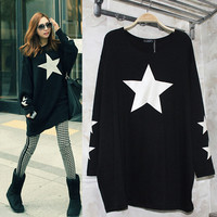 Fashion Brands Women Blouse Loose Batwing Long Sleeve Five Pointed Star Printed Long Shirt Casual Tops
