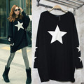 Fashion Brands Women Blouse Loose Batwing  Long Sleeve Five-pointed Star Printed Long Shirt Casual Tops Blusa Feminina