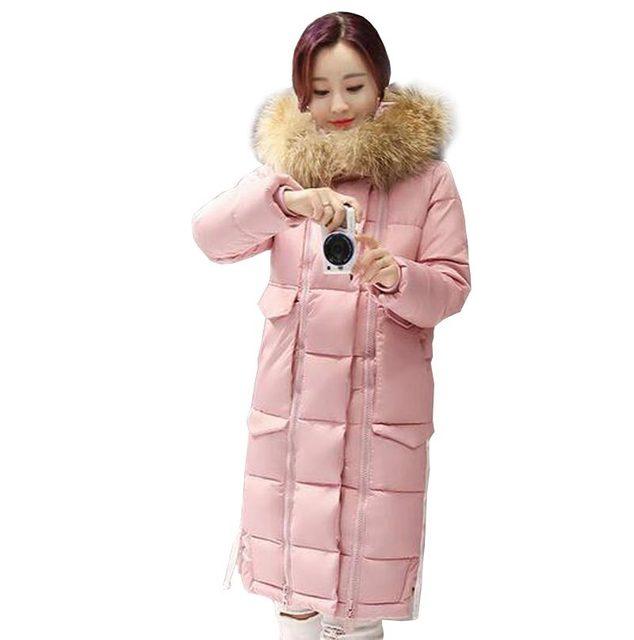 Coreano new plus size longo engrosse moda quente grande faux gola de pele casaco longo inverno mulheres jaqueta de algodão com capuz outerwear kp1039