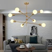 Nowoczesny żyrandol do salonu złoty lampa do jadalni kreatywny sypialnia lampa studyjna Nordic magiczna fasola lampa żyrandol nowoczesny CL068 w Żyrandole od Lampy i oświetlenie na