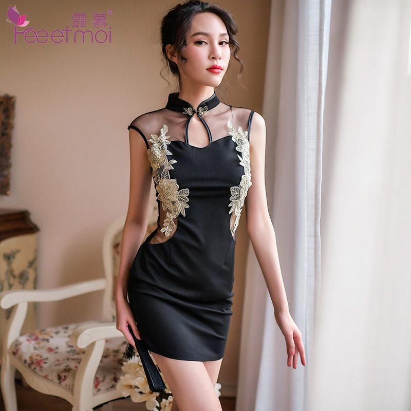 Fee et moi Sexy Lingerie Woman Set Lace Peacock Embroidery Cheongsam <font><b>girl</b></font> Erotic <font><b>Hot</b></font> Hollow <font><b>Sex</b></font> printed silk qipao <font><b>dress</b></font> 7080 image