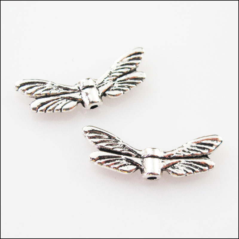 15pcs Tibetan Silver Animal Dragonfly Wings Spacer Beads Charms 7x20mm Refreshment Jewelry & Accessories