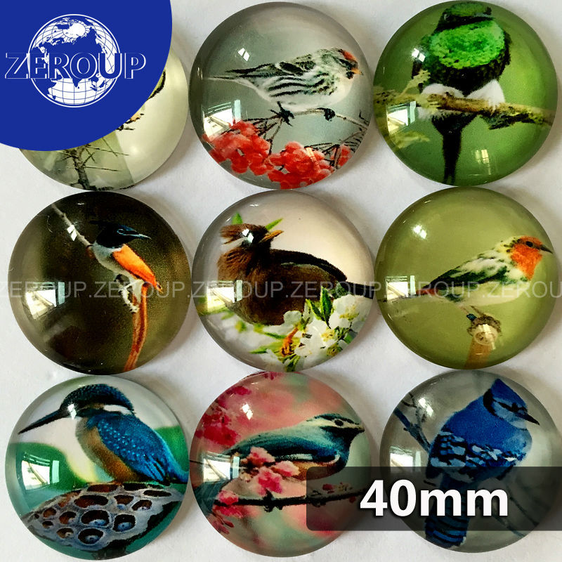 40mm round glass cabochon birds pictures mixed pattern fit cameo base setting for jewelry flatback 5pcs/lot TP-060-R