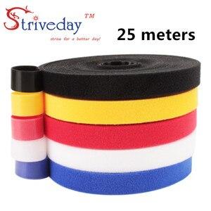 Image 1 - 25 メートル/ロールマジックテープナイロンケーブルタイ幅 1 センチメートルケーブルワイヤーネクタイイヤホンワインダー velcroe ネクタイ 6 色から選択