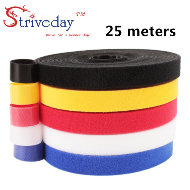 25 メートル/ロールマジックテープナイロンケーブルタイ幅 1 センチメートルケーブルワイヤーネクタイイヤホンワインダー velcroe ネクタイ 6 色から選択