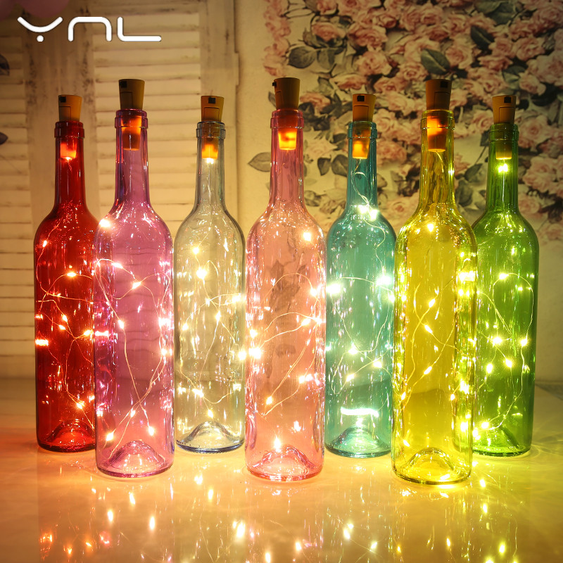 YNL LED String Lights 2M RGB Copper Wire Wine Bottle Stopper Cork Shaped Flasher Fairy Lights Wedding Party Christmas Decoration