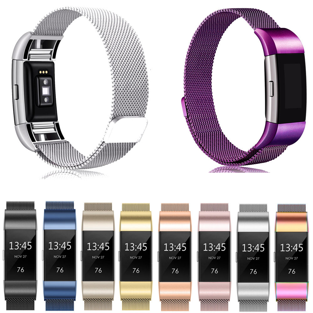 Smart Watch Strap Metal Stainless Strap For Fitbit Charge 2 Band Milanese Loop Magnetic Strap Smart Bracelet Smart Accessories