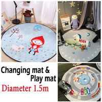 Changing mat/pad for diaper changing and playing, big size:: diameter-1.5m, easy to collect toys, easy for travel
