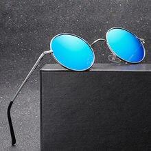 Vintage polarizado retro redondo óculos de sol para homens marca designer metal quadro de pesca óculos de sol espelho preto uv400