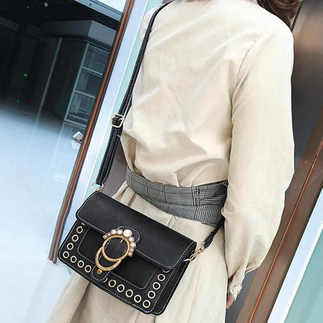 PU Leather Vintage Pearl Women Handbags Retro Sling Shoulder Bag for Girls Casual Female Crossbody Bag 5