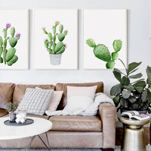 Simple Green Pot Plant Watercolor Cactus Canvas Painting Art Print Poster Picture Wall Bedroom Living Room Office Home Decoratio