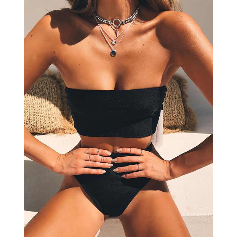 Купальник-бандо с высокой талией, женский купальник из двух частей, бикини с высокой талией, женский купальный костюм, бикини