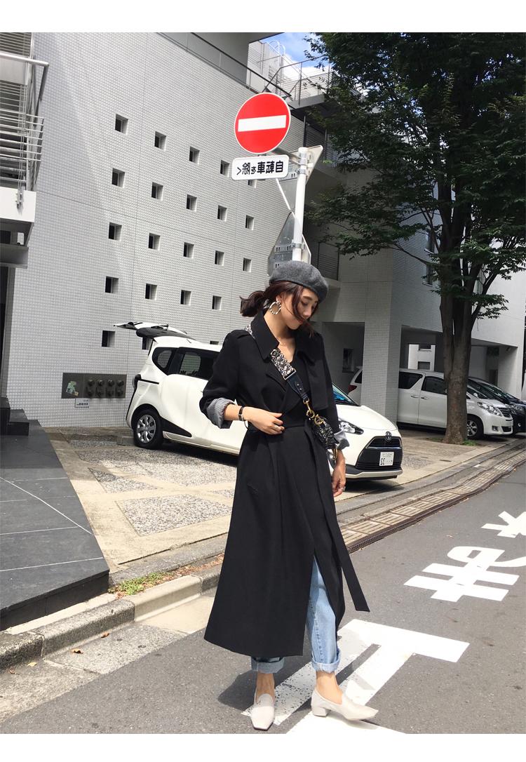 Spring Autumn Maxi Long Women's Loose Trench Coat With Belt Khaki & Black Plus Size Korean Style Windbreaker Outwear 7