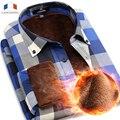 Langmeng 2016 camisa casual inverno quente manga comprida camisas com espessura de veludo qualidade da marca dos homens camisas de vestido camisas xadrez masculina