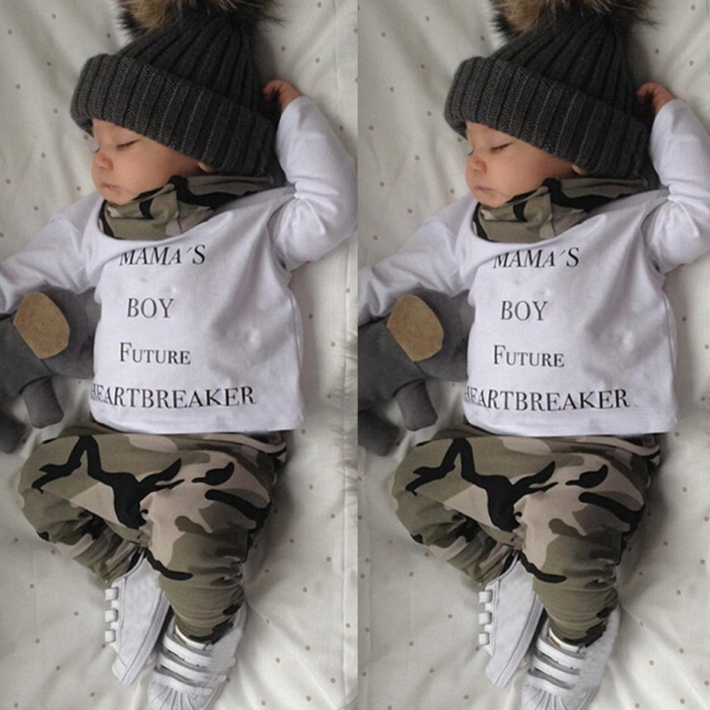 High quality Fashion Newborn Kids Baby Boys Outfits Clothes Letter Long Sleeve T-shirt Tops+Camouflage Pants Set mama boy future newborn kids baby boy summer clothes set t shirt tops pants outfits boys sets 2pcs 0 3y camouflage