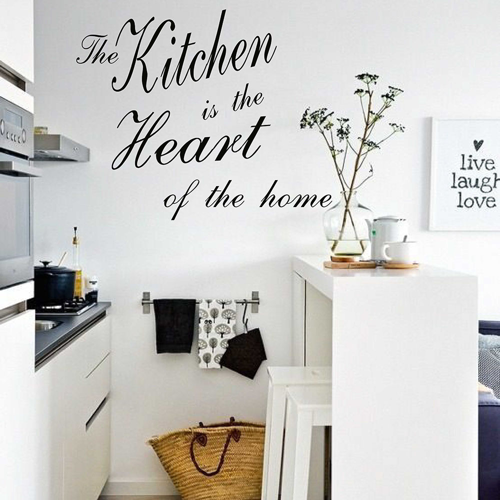 The Kitchen Is The Heart Of The Home Quotes Wall Sticker Removable Kitchen Dining Room Wall Decal Vinyl Sticker Home Decor 703Q