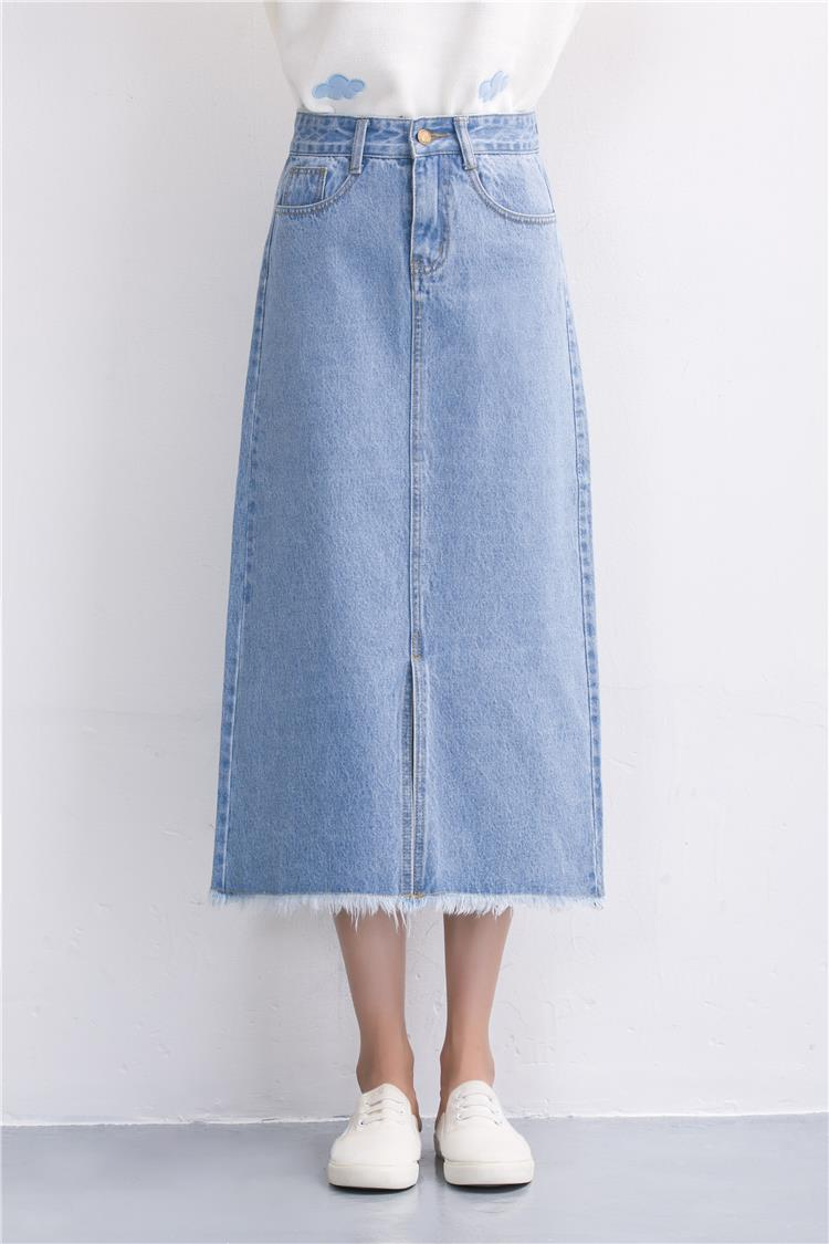 Slits a word denim skirt female 2016 new winter high waist a word length denim skirt 24