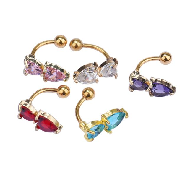 HTB1sSaTPVXXXXcNXVXXq6xXFXXXs Heart Belly Button Ring - Double Golden Crystal Belly Button Ring For Women - 5 Colors