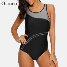 Женский купальник в полоску charmo цельный спортивный стиле