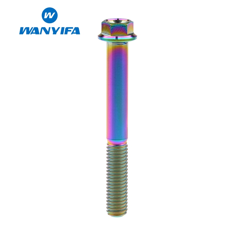 Wanyifa Titanium Bolt Screw M8x15 20 25 30 35 40 45 50 55 60 65mm Small Flange Head for Bicycle Brake Titanium Rainbow Color in Bicycle Brake from Sports Entertainment