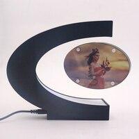 C Shape Electronic Magnetic Levitation Floating Photo Frame with LED Lights Novelty Gift Home Decoration Pictures Frames 2017