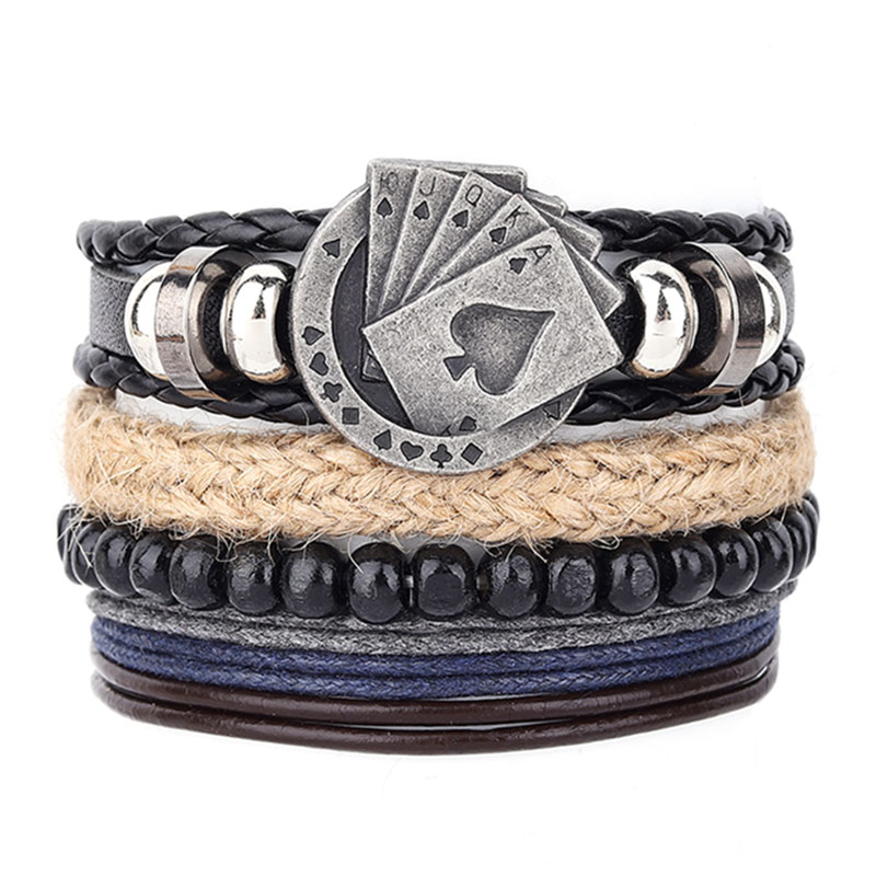 4Pcs/Set Braided Wrap Leather Men Bracelets Square Cards Vintage Wooden Beads Ethnic Tribal Wristbands Bracelet