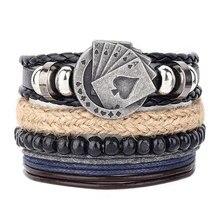 4Pcs/Set Braided Wrap Leather Men Bracelets Square Cards Vintage Wooden Beads Ethnic Tribal Wristbands Bracelet