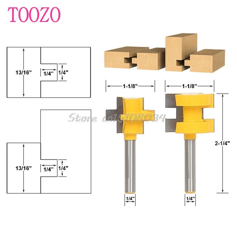 2Pcs 1/4'' Shank Tongue & Groove Router Cutter Tenon Line Bit Woodworking Tool S08 Drop ship 2pcs tongue