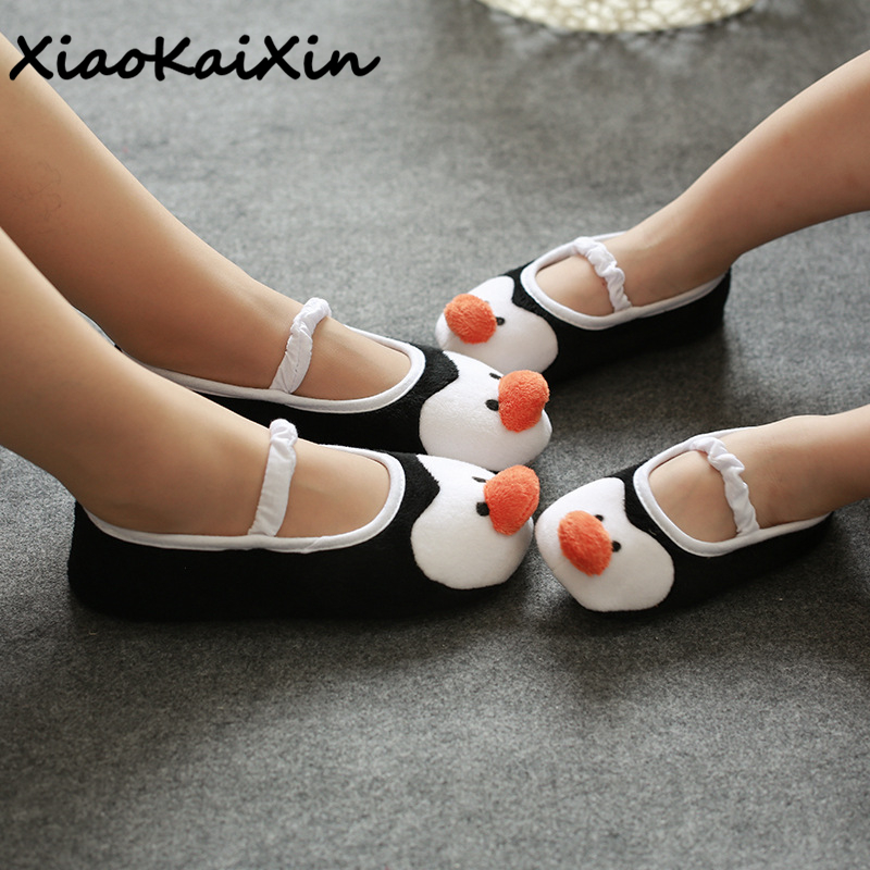 XiaoKaiXin 2018 New Spring/Autumn Cartoon Home Shoes Women Indoor Floor Ankle Strap Cotton Fabric Animal Style Penguin Slippers