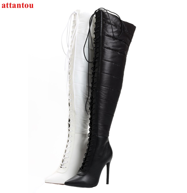 2018 Winter Fashion Warm Down Woman Long Boots Cross-tied Black White Over-the-knee Boots Pinted Toe Female Motorcycle Booties the woman in white
