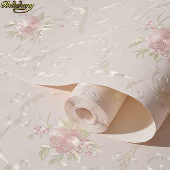 beibehang European self-adhesive non-woven wallpaper 3d three-dimensional garden flower warm bedroom living room wall paper beibehang 53x300cm european non woven self adhesive wallpaper 3d garden pink wall paper roll bedroom living room tv background