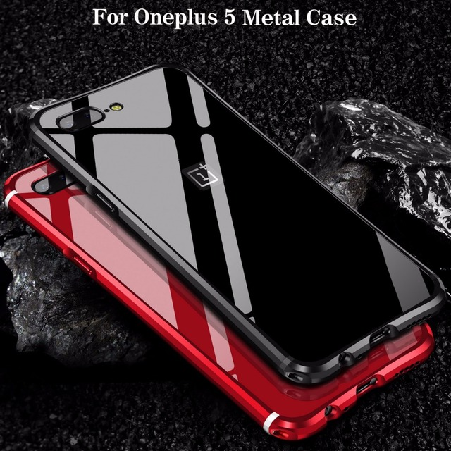 on sale 767c3 c06cc US $14.31 10% OFF|Hot Sale For Oneplus 5 Case Luxury Glitter Hard Aluminum  Metal Frame Armor Protective Shockproof Back Phone Case Cover Fundas-in ...