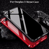 For Oneplus 5 Case Luxury Accessories Glitter Hard Aluminum Metal Bumper Frame Armor Protective Shockproof Back