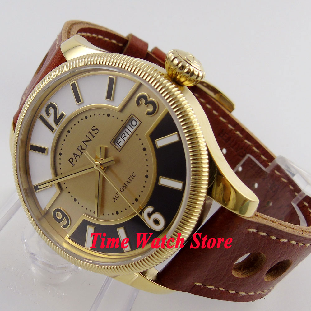 Parnis 42mm sandwich dial golden case sapphire glass 21 jewels MIYOTA Automatic mens watch 410 relogio masculinoParnis 42mm sandwich dial golden case sapphire glass 21 jewels MIYOTA Automatic mens watch 410 relogio masculino