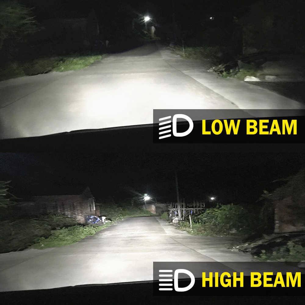 Bombilla LED H4 de BraveWay con Mini lente de proyector H4, Kit de conversión LED para automóviles Bombillas de faros LED 12V 55W 11000LM 6500K blanco
