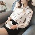 Новые Плюс Размер Рубашки Женщины Животных Хлопок Блузка Мода Длинным Рукавом Дамы Топы Цветочный Принт Пейсли Женщины Блузки Повседневная 2017