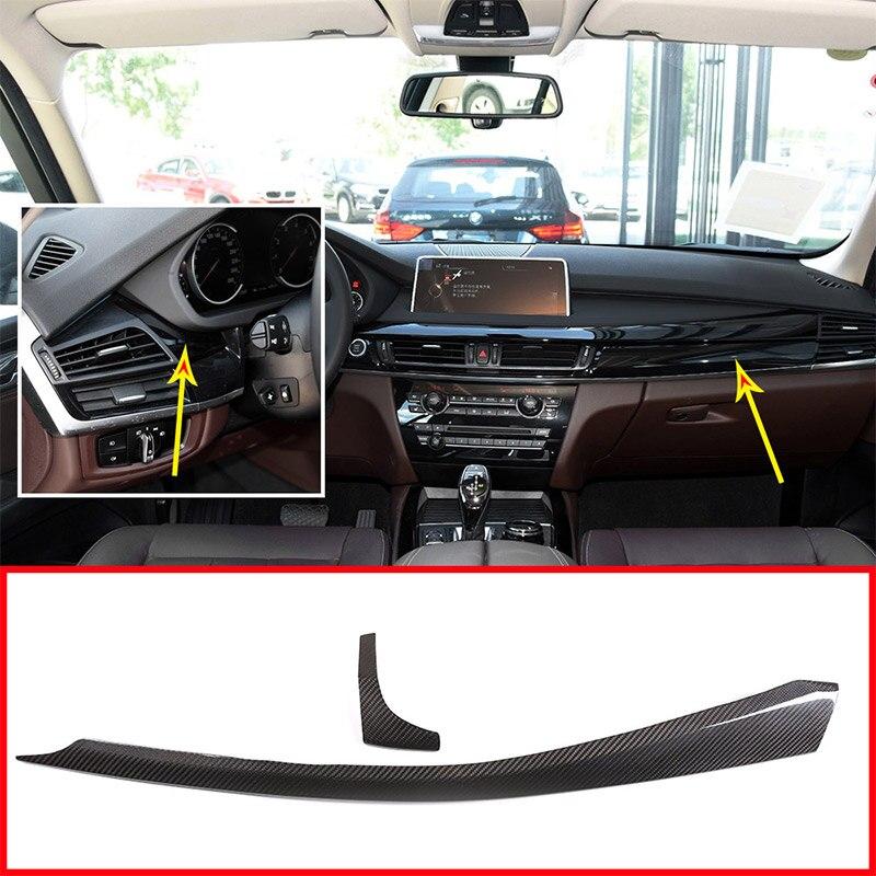 Per BMW X5 F15 X6 F16 2015-2018 Accessori Auto 2 Pcs Interni Cruscotto Decorazione Pannello di Rivestimento LHD Reale in Fibra di carbonio
