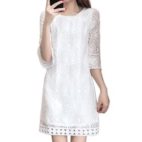 Women White Lace Dress Vintage Sexy Evening Casual Brand Fashion Slim Crochet Dress Wedding Party Dress