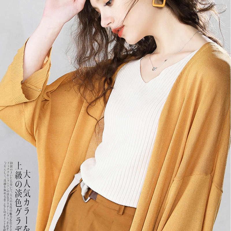 Женский весенне-летний тонкий женский свитер кардиган, черный, зеленый, винтажный солнцезащитный кардиган, большие размеры, Новая мода